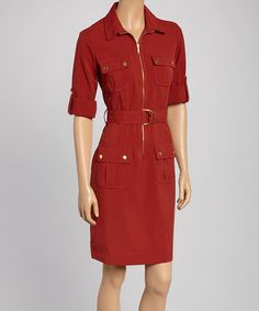 Look what I found on #zulily! Rust & Gold Military Dress #zulilyfinds