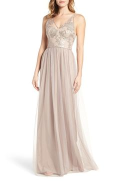 Free shipping and returns on Amsale Sora Sequin & Lace Gown at Nordstrom.com. Pre-order this style today! Add to Shopping Bag to view approximate ship date. You'll be charged only when your item ships.Embroidered with shimmering sequins, this romantic gown has a plunging neckline, slender straps and a voluminous tulle skirt.