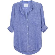 Womens Shirts Rails Charli Blue Linen Chambray Blend Shirt (10,285 MKD) ❤ liked on Polyvore featuring tops, rails shirts, linen shirt, blue chambray shirt, shirt top and linen tops