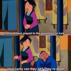 Mulan& Grandma knows what& up. The post Pretty positive that the grandma from Mulan has it right appeared first on Disney Memes. Disney Memes, Funny Disney Jokes, Disney Quotes, Disney Facts, Disney Princess Memes, Disney Princes Funny, Funny Princess, Disney Princesses, Memes Humor
