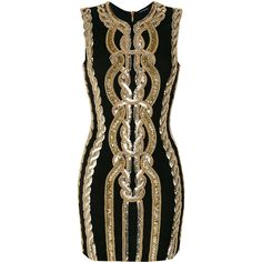 Balmain fitted embellished dress ($4,135) ❤ liked on Polyvore featuring dresses, black, embellished dress, sleeveless fitted dress, form fitted dresses, round neck sleeveless dress and short dresses