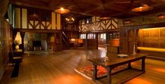 "The Main Hall | Blackwell, The Arts & Crafts House, Historic House Cumbria.This ""living hall"", as described by Arts & Crafts architect MH Baillie Scott, refers to the ideal of Medieval life as one of unity and beauty, a view shared by other Arts & Crafts architects."