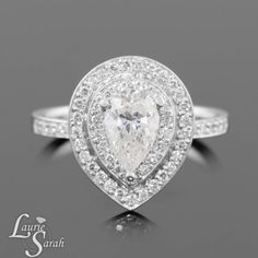 1 carat Pear Cut Diamond Engagement Ring by LaurieSarahDesigns