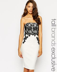 Image 1 of Paper Dolls Tall Lace Panel Bandeau Pencil Dress