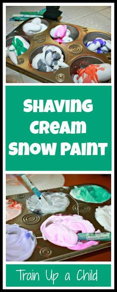 Train Up a Child's Shaving Cream Snow Paint. #game #art #kids #activities