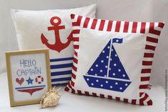 Купить Наволочка По морям, по волнам - наволочка, наволочка на подушку, морской стиль, украшение детской