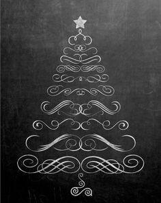 christmas tree free printables chalkboard