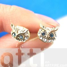Tiny Cute Owl Bird Animal Stud Earrings in Gold with Rhinestones from Dotoly Love $6 #owls #birds #animals #jewelry #earrings