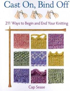 "Presents step-by-step instructions for a variety of ""cast on"" and ""bind off"" knitting techniques, including the double-needle, slipknot, and stem-stitch."