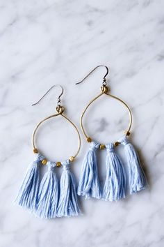 Brass Bead and Tassel Earrings - DIY in PDX