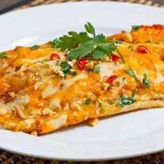 Thai Spicy Peanut Chicken Enchiladas - Closet Cooking - try with soft corn tortillas? and no chicken? Mexican Dishes, Mexican Food Recipes, All You Need Is, Peanut Chicken, Thai Chicken, Butter Chicken, Roasted Chicken, Spicy Peanut Sauce, Peanut Butter