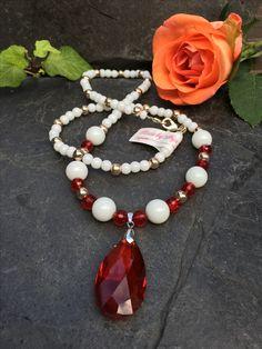 crystal drop necklace, Made by Arja Hannele Drop Necklace, Beaded Necklace, Crystal Drop, Crystals, Jewelry, Fashion, Beaded Collar, Moda, Jewlery