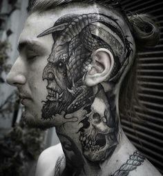 Devil by Robert Borbas (@ grindesign_tattoo) #necktattoosdesigns