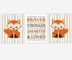 Boy Nursery Wall Art Fox Woodland Animal Forest Remember You Are Braver Toddler… Fox Themed Nursery, Fox Nursery, Baby Nursery Decor, Nursery Themes, Nursery Wall Art, Nursery Prints, Baby Decor, Nursery Ideas, Room Ideas