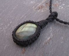 Natural Labradorite Pendant - Macrame Necklace, Strength Jewerly, Healing Crystals and Stones, Psychic Jewelry, Labradorite Necklace, Boho by MiscAndMiscellany on Etsy (null)