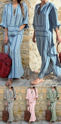 Casual Women Boho Cotton Linen V-Neck Long Sleeve Striped Loose Dress Robes Dos Nu Maxi, Latest Fashion For Women, Womens Fashion, Short Beach Dresses, Casual Outfits, Cute Outfits, Boho Fashion, Fashion Outfits, Mode Boho
