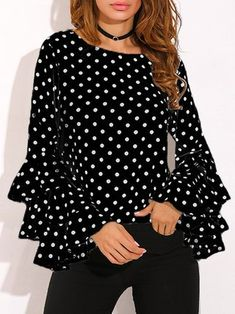 Round Neck Geometric Plain Polka Dot Printed Bell Sleeve blouses for women chic blouses for women casual blouses outfit cute blouses blouses for women work business casual Tops Online Shopping, Shopping Sites, Polka Dot Shirt, Polka Dots, Bell Sleeve Blouse, Casual Tops, Casual Shirt, Mode Style, Blouse Designs