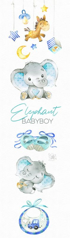 New Baby Shower Elephant Clipart Etsy Ideas Elephant Baby Showers, Baby Elephant, Elephant Family, Baby Born, Baby Animals, Cute Animals, Baby Shower Niño, Design Set, Watercolor Animals