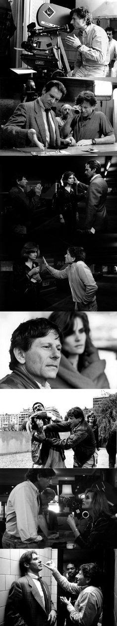 Roman Polanski, Harrison Ford and Emmanuelle Seigner on the set of Frantic