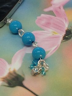 Blue cell phone charm phone charm dust plug by PmBSparklesLinks, $5.50