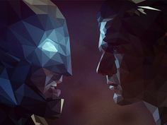 Batman v Superman: Low Poly designed by Shyam B. Daily Inspiration, Design Inspiration, Paint Chip Art, Polygon Art, Vector Portrait, Batman Vs Superman, Low Poly, Digital Illustration, Digital Art