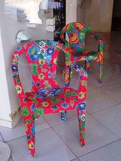 Customização de cadeiras plásticas com tecidos                                                                                                                                                                                 Mais
