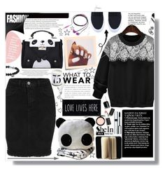 """""""SheIn Black&White Look"""" by lillili25 ❤ liked on Polyvore featuring Chloé, Nicole Miller, Post-It, Bobbi Brown Cosmetics, Essie, L'Objet, David Yurman, Sigma Beauty, By Terry and MAC Cosmetics"""