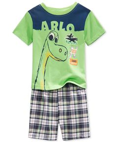 Nannette Toddler Boys' 2-Pc. The Good Dinosaur Arlo T-Shirt & Plaid Shorts Set