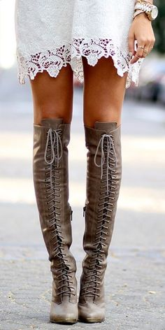 knee-high lace boots with lacy dress