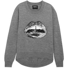 Markus Lupfer Lara Lip sequined merino wool sweater (476 AUD) ❤ liked on Polyvore featuring tops, sweaters, grey, loose tops, grey sequin top, embellished tops, sequin sweater and merino boyfriend sweater