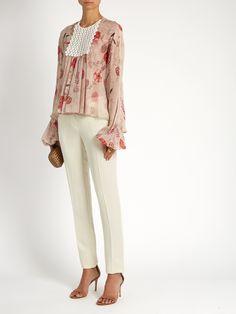 Giambattista Valli | Botanical floral-print silk-georgette blouse