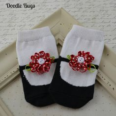 c6ad357b9a8b65 Baby Girl Socks Mary Jane Socks Bow Red Flower by ShopatDoodleBugs