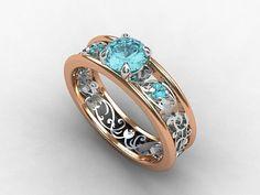 Aquamarine engagement ring, filigree ring, rose gold, white gold, blue engagement, unique, wedding ring, red gold, aquamarine filigree.BUT WITHOUT THE ROSE GOLD :)