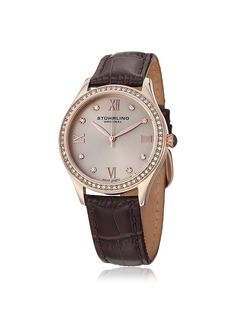 Stuhrling Women's 431.05 Vogue Brown/Rose Leather Watch at MYHABIT
