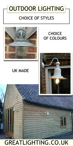 Outdoor Lighting Ideas, with UK made Fisherman's Wall Lights, Barn & Belfast Lights in a wide choice of colours to suit both traditional and contemporary styles. Discounts for 3 or more fittings and No UK Delivery Charge on orders over Barn Lighting, Outdoor Lighting, Outside Lighting Ideas, Fishermans Cottage, Outdoor Range, Porch Garden, Shed Homes, Attic Spaces, Interior Decorating