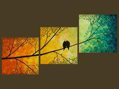 """36x12 Original Modern Texture Impasto Metallic Painting Landscape Tree Branches Wall Decor """"Love Birds and Sunset Forest"""" by QIQIGALLERY"""