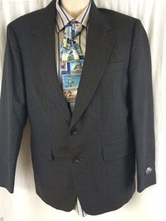 Stafford Sport Coat 40S Athletic Fit Pinstripe 2 Button Vented Worsted Wool EUC #Stafford #TwoButton
