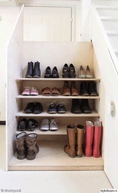 Under stairs shoe storage - note the shallow shelves that make room for boots at the bottom Shoe Storage Under Stairs, Stairway Storage, Shoe Storage Shelf, Shoe Shelves, Attic Storage, Wall Storage, Closet Storage, Shelving, Small Space Design