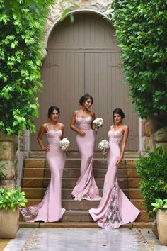 Spaghetti Straps Lace Satin Bridesmaid Dresses Skirt Train Lace Appliques Blush…