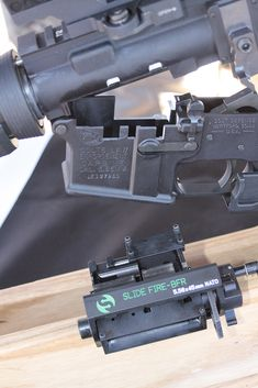 SlideFire BFR (Belt Fed Rifle). Converts a traditional AR-15 into a (sorta) automatic, belt-fed design.