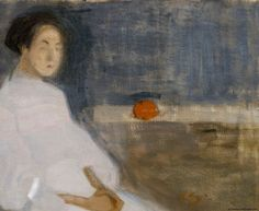 Seated Woman in White Dress, Helene Schjerfbeck - Cd Paintings Helene Schjerfbeck, Helsinki, James Mcneill Whistler, Female Painters, Edvard Munch, Chur, Abstract Painters, Art Database, Northern Lights