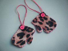 Bling Animal Leopard print felt mitten Christmas by lizziboo, $3.50
