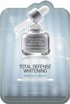 Touch Therapy Total Defense Ampoule Mask - Whitening by Kwailnara. $29.99. 10 sheets in a package (25ml of each sheet). Touch Therapy Total Defense masks promote circulation of dry and damaged skin, and provide a moisturizing effect to keep it moist and to recover damaged skin into the initial one.. You will receive samples of other products. Substance which has a powerful effect on skin whitening is contained to keep dark and dull to bright and luminous.. Whiten...