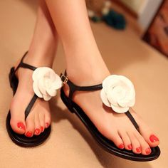 2014 Fashion Summer Flower Flat Sandals 10909429 - Flat Sandals ...