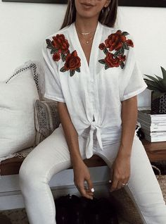 white tie front cotton women's shirt with red rose embroidered detail