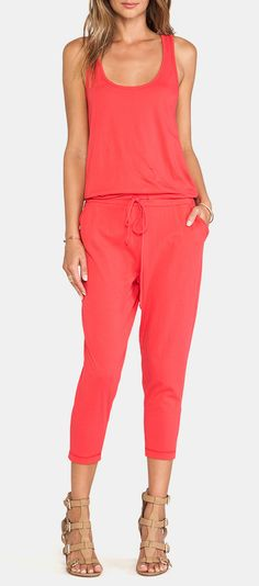 Bobi Supreme Jersey Jumpsuit in Berry Red