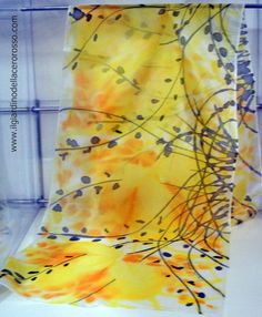 handpainted silk scarf - evanescent color flowing on the silk