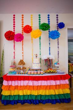 Colorful Rainbow Ruffled Tablecloth, perfect for your rainbow party dessert or gift table. Rainbow Parties, Rainbow Birthday Party, Rainbow Theme, 4th Birthday Parties, Rainbow Birthday Decorations, 21 Birthday Themes, Kids Rainbow, Diy Party Decorations, Party Themes