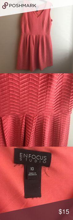 Coral Dress Coral Dress Elastic Waistline Enfocus Studio Dresses
