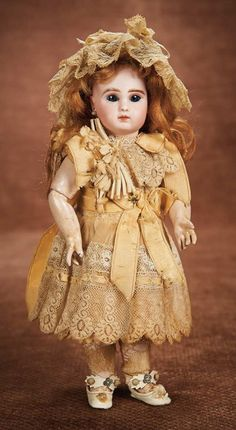 At Play in a Field of Dolls (Part 1 of 2-Vol set): 3 Petite French Bisque Bebe by Jules Steiner in Original Labeled Au Nain Bleu Costume